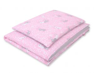 Double-sided bedding set 2-pcs- pink rabbits/grey
