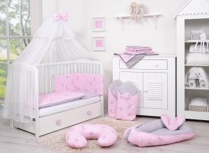 Double-sided bedding set 5-pcs with mosquito-net - pink rabbits/gray
