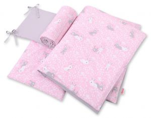 Double-sided bedding set 3-pcs  - pink rabbits/gray