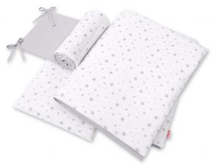 Double-sided bedding set 3-pcs  - mini gray stars/gray