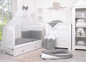Double-sided bedding set 5-pcs with mosquito-net - mini stars white/white