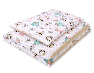Double-sided bedding set 2-pcs- foxes beige/beige