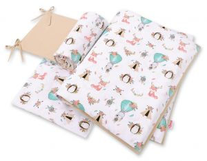 Double-sided bedding set 3-pcs  - foxes beige/beige