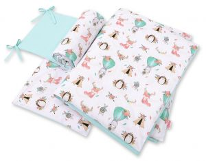 Double-sided bedding set 3-pcs  - foxes beige/ mint