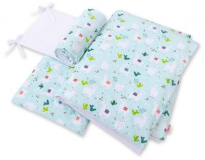 Double-sided bedding set 3-pcs  - lama mint/white