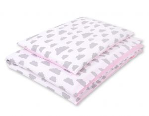 Double-sided bedding set 2-pcs- clouds gray/pink