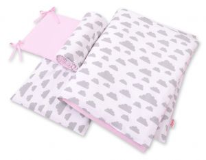 Double-sided bedding set 3-pcs  - clouds gray/pink