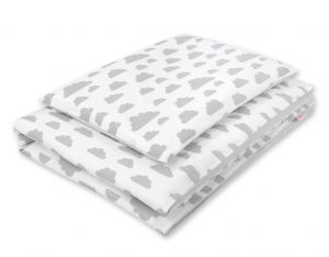 Double-sided bedding set 2-pcs- clouds gray/gray