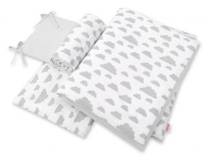 Double-sided bedding set 3-pcs  - clouds gray/gray