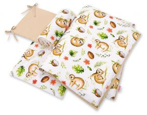 Double-sided bedding set 3-pcs  - sloths  beige/beige