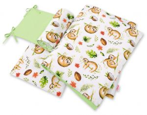 Double-sided bedding set 3-pcs  - sloths  beige/green