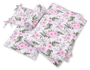 Bedding set 3-pcs - peony flower pink
