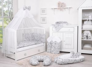 Bedding set 5-pcs with mosquito-net - bubbles gray