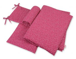 Bedding set 3-pcs  - wine red stars