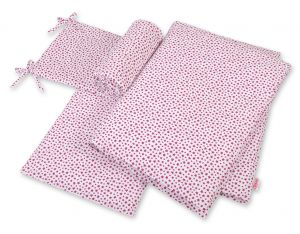 Bedding set 3-pcs  - white-wine red stars