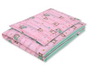 Bedding set 2-pcs- owls pink-mint