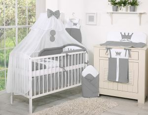 Bedding set 11pcs with Mosquito-net- Little Prince/Princess anthracite