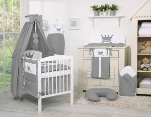 Bedding set 11pcs with canopy- Little Prince/Princess anthracite