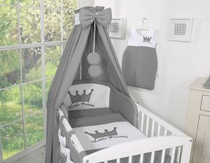 Bedding set 5-pcs with canopy- Little Prince/Princess anthracite