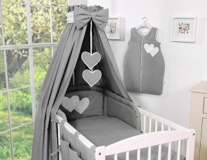 Canopy made of fabric- Hanging Hearts anthracite