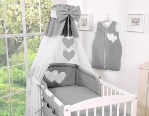 Bedding set 5-pcs with canopy- Hanging Hearts anthracite