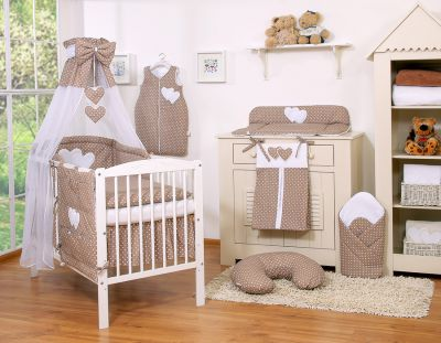 Bedding set 11-pcs with canopy- Hanginog Hearts white dots on brown