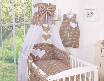 Bedding set 7-pcs with canopy- Hanging Hearts white dots on brown
