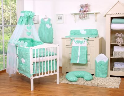 Bedding set 11-pcs with canopy- Hanginog Hearts white dots on mint