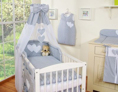 Bedding set 7-pcs with canopy- Hanging Hearts white dots on grey