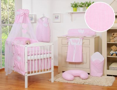 Bedding set 11-pcs with canopy- Hanging Hearts pink strips