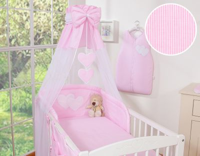 Bedding set 7-pcs with canopy- Hanging Hearts pink strips