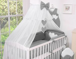 Mosquito-net made of chiffon- Hanging Hearts anthracite