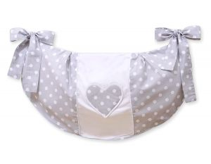 Toys bag- Hanging Hearts dots on grey