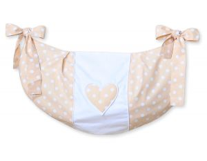 Toys bag- Hanging Hearts white dots on beige