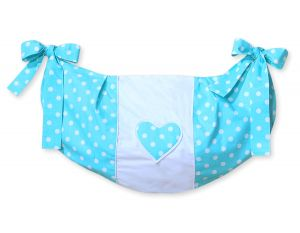 Toys bag- Hanging Hearts white dots on turquoise