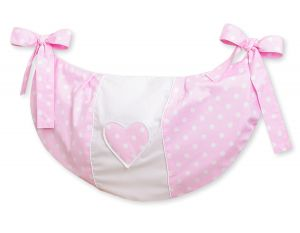 Toys bag- Hanging Hearts white dots on pink