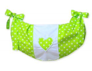 Toys bag- Hanging Hearts white dots on green