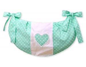 Toys bag- Hanging Hearts white dots on mint