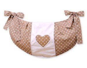 Toys bag- Hanging Hearts white dots on brown