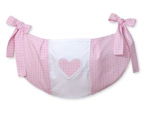 Toys bag- Hanging Hearts pink checkered