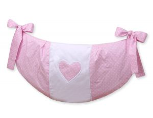 Toys bag- Hanging Hearts white polka dots on pink