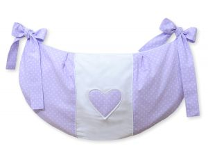 Toys bag- Hanging Hearts white polka dots on lilac