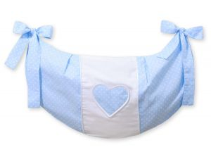 Toys bag- Hanging hearts white dots on blue