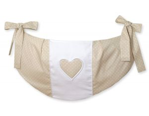 Toys bag- Hanging Hearts white polka dots on beige