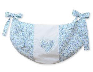 Toys bag- Hanging Hearts blue flowers