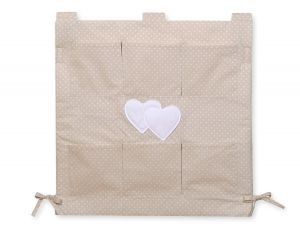 Cot tidy- Hanging Hearts white polka dots on beige