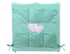 Cot tidy- Hanging Hearts mint