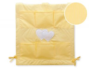 Cot tidy- Hanging Hearts yellow strips