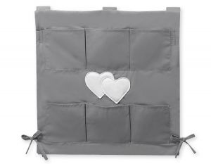 Cot tidy-  Hanging hearts anthracite