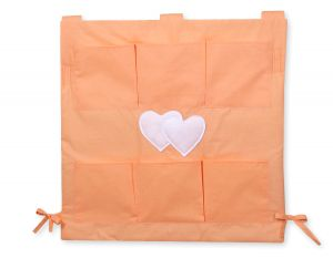 Cot tidy- Hanging Hearts orange